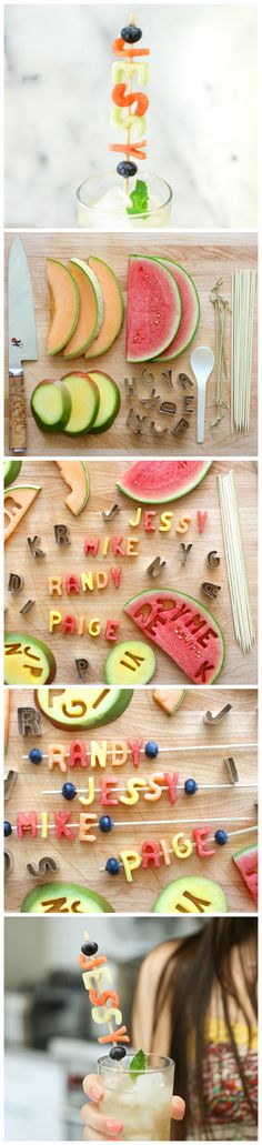 how to make edible drink markers and place holders with melon