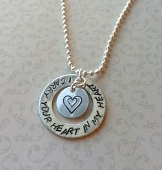 I Carry Your Heart In My Heart Necklace, Mother And Child Necklace, Hand Stamped Metal Jewelry, Inspirational Quotation Jewelry