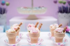 Cute ice cream cone treats at a Lego Friends Party #legofriends #partytreats