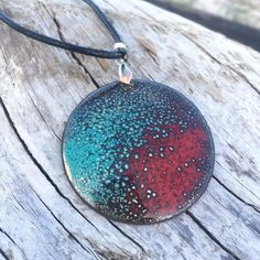 Autumn Colorful Bright Necklace Artisan Enamel Pendant Abstract Cosmic Texture Organic Jewelry Rustic Jewelry Gift Idea For Her