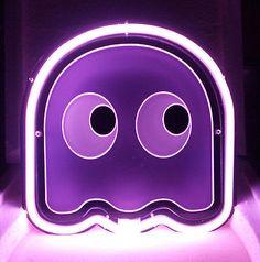 SB263 Pacman Purple Ghost Video Games Beer Bar Show Room Display Neon Light Sign in Collectibles, Lamps, Lighting, Neon   eBay