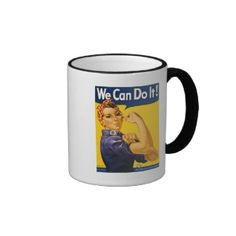 Rosie the Riveter We Can Do It Vintage Mugs available in coffee mugs, travel mugs, beer steins, and several other varieties.  They make great gifts.  Available from: http://rosietheriveterwecandoit.com/store/rosie-the-riveter-coffee-mugs