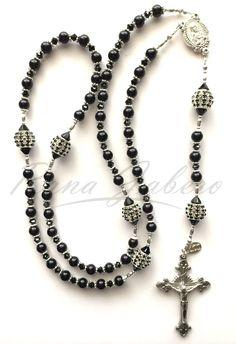 Jet Black Groom Rosary w/Swarovski Crystal Elements