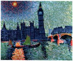 Andre Derain - 1906 - The Houses of Parliament Modern Artists, French Artists, Great Artists, Andre Derain, Raoul Dufy, Houses Of Parliament London, Post Impressionism, Famous Art, Reproduction