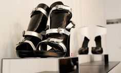 Black & silver buckled leather sandals