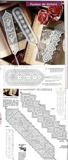 marque page filet crochet bookmark patterns. I like the diagonal filet. Crochet Doily Diagram, Crochet Motifs, Crochet Borders, Crochet Cross, Thread Crochet, Crochet Doilies, Easy Crochet, Crochet Lace, Crochet Patterns