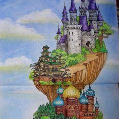 Top half of Cinderella from Mysterious Library.#mysteriouslibrary #cinderella #adultcolouring #castle #eunjipark #coloringbook