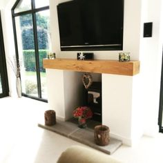 Oak Fireplace Beam Mantle / Mantelpiece Planed and Sanded Celtic Timber home Room, Fireplace Mantle, Mantelpiece, Oak Fireplace, Oak Beam Fireplace, Log Burner Living Room, Wooden Shelves, Wooden Fireplace, Fireplace Beam