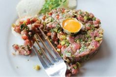 Scottish Steak Tartare. Cut from 28 day dry aged fillet steak and made fresh to order.