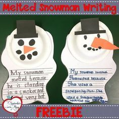 Melted Snowman Writing Craftivity After reading Sneezy the Snowman by Maureen Wright, your students will enjoy making this cute melted snowman craft along with a fun cause and effect writing prompt! Perfect for an easy transition back from winter 1st Grade Writing, Kindergarten Writing, Kindergarten Crafts, Math Crafts, Kindergarten Christmas, Preschool Bulletin, Daycare Crafts, Teaching Writing, Preschool Learning