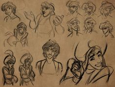 Drawings of Aladdin by Supervising Animator Glen Kean. I think these pics get his smarmy kinda attitude down pretty great.