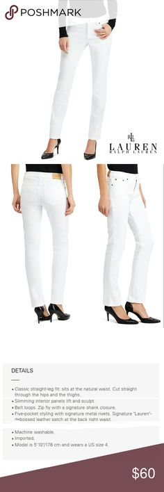 "RALPH LAUREN JEAN CO. CLASSIC STRAIGHT JEANS RALPH LAUREN JEAN CO. CLASSIC WHITE STRAIGHT JEANS Pre-Loved  /EUC / Pic for Similarity  RN# 54050  CA#  06349 SZ 8 99% Algodon  1% Spandex Classic 5 Pocket Jean's, Front Fly Zipper Closure, Belt Loops Has a Slimming Interior Panels Lift & Sculpt  Approx Meas;    *   Waist   16""    *   Inseam   30""    *   Rise   10""    *   Leg Opening   7  1/2""  Pls See All Pics. Ask ? If Not Sure Ralph Lauren RRL Jeans Straight Leg"