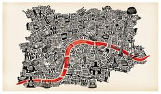 Typographical map of London that you'll keep reading for ages (in a good way).    A2 sized silk screen printed map of London, hand drawn from the names of London's areas and peppered with some of its greatest little places. Printed onto 320gsm 100% recycled cream Cairn board, it's a right old beauty. Click to buy from the GLP store for £30... By illustrator Joao Fonte.