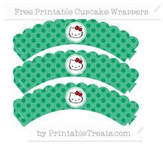 Free Shamrock Green Polka Dot  Hello Kitty Scalloped Cupcake Wrappers