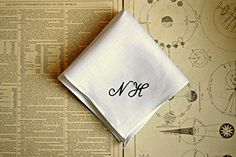 White Linen Handkerchief with Hand Embroidered Monogram >>> Details can be found by clicking on the image.