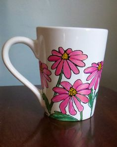 Hand Painted Coffee Mug Pink Coneflowers by CCsCrafts on Etsy