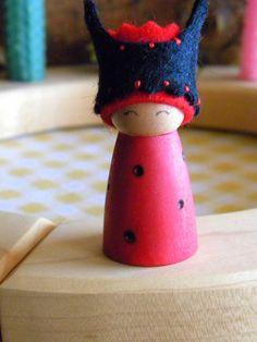 Lady Bug Birthday Ring Decoration, Small Lady Bug Peg Doll, red, black, wood burned wings, crown, Waldorf decor, Girl Birthday via Etsy