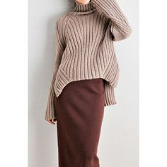 High Low Oversized Turtleneck Sweater (755 SEK) ❤ liked on Polyvore featuring tops, sweaters, turtleneck top, over sized sweaters, polo neck sweater, oversized tops and oversized turtleneck