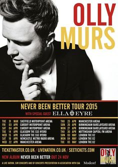 "NEWS: The pop artist, Olly Murs, has announced a European tour, for spring of 2015, called the ""Never Been Better Tour."" Ella Eyre will be joining as support. You can check out the dates and details at http://digtb.us/14AMae1"