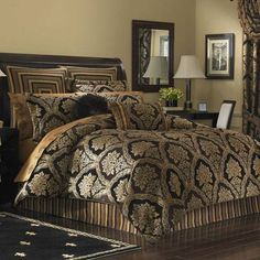 Luxury Bedding, Comforter Sets, Bedspreads & Quilts: The Home Decorating Company Damask Bedding, Black Bedding, Tan Bedding, Bedroom Comforters, Luxury Bedding Collections, Luxury Bedding Sets, King Sheet Sets, Queen Comforter Sets, Bed Spreads