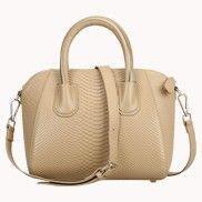 Annette Snake Effect Leather Bag Beige