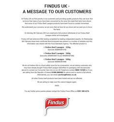 Findus UK website message during the horsemeat scandal, 2013