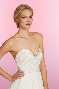 Pink sunrise chevron A-line gown, beaded bodice with strapless sweetheart neckline, soft flounce skirt of layered georgette with thin horsehair trim. Charlie,  Style HP6508 by JLM Couture, Inc.