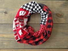 Wisconsin Badgers Infinity Scarf by KutKloth on Etsy