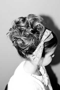 Flower Girl Hair Style. With a big purple or grey bow :) Allie, but without the bow?