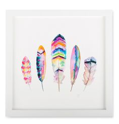 sarah martinez feather print neon boho artwork; on sale for $36 (reg $50)