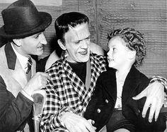 Basil Rathbone, Boris Karloff and Donnie Dunagan on the set of Son of Frankenstein (1939).