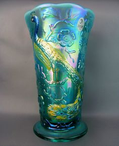 FENTON Robin Egg Blue Opalescent Carnival Glass PEACOCK GARDEN Vase