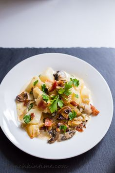 Potato Mushroom Casserole with Caramelized Onions