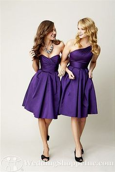 each dress has the same bottom and a similar but different top- so each bridesmaid gets to show her personality