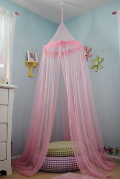 Cute idea for canopy in little girl's room. Hung by a plant hook in the ceiling!