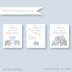 Elephant Nursery Decor Baby Boy Nursery Wall Art Print in  Blue and Gray First We Had Each Other Nursery Wall Art by YassisPlace Pin now to view later