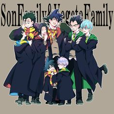 Vegeta's Family and Goku's Family dressed in HP attire