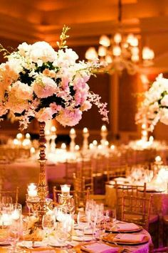 Beautiful pink floral centerpieces for a pink and gold reception! #indianweddings #pakistaniweddings #pinkweddings
