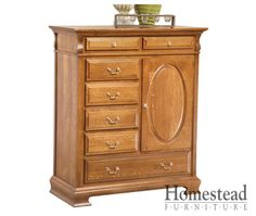 New Carlisle Man's Chest http://www.homesteadfurnitureonline.com/chestofdrawers_new-carlisle-mans-chest.html This smaller storage piece works in rooms that don't have space for a mule chest. You still get plenty of storage options with this traditional piece. It features an oval raised panel and curved details giving it that traditional feel