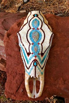 Turquoise And Ivory Skull - by Jennifer Robinson Mosaics