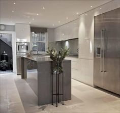 Modern kitchen ideas grey grey and white kitchen design ideas modern modern light grey kitchen ideas Modern Kitchen Island, Modern Kitchen Design, Kitchen Islands, Kitchen Contemporary, Kitchen Designs, Modern Kitchens With Islands, Kitchen Living, New Kitchen, Kitchen Time
