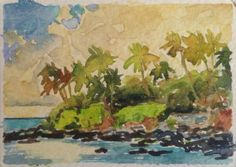 Vosberg Collectable Aceo Original Watercolor Paia Bay Maui Island  Hawaii #50