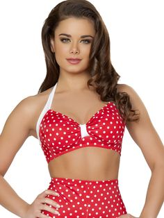 Pinup Swimsuits - Retro Swimwear Halter Top with Gathered Front in Red & White Polka Dots