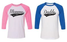 Mommy and Daddy Shirts. Custom Mommy Daddy Baseball Shirts. Mommy Shirt. Daddy Shirt. Mom and Dad Shirt. Gender Reveal Baseball. Baby Mama.  Mommy Daddy Baseball 3/4 Sleeve T-Shirts Purchase includes 1 Mommy and 1 Daddy baseball tee Bella/Canvas brand Unisex Semi-fitted Shirt, 3.6 oz 52% Combed and Ringspun Cotton, 48% Polyester Direct to garment printed for soft wearable feel  Please specify the established date you would like in the comments section of the order confirmation.  Mom...