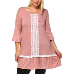 Joy Pink Ruffled Lace Tunic ($30) ❤ liked on Polyvore featuring tops, tunics, plus size, lace trim top, long tunics, ruffle sleeve top, flutter sleeve top and flounce tops