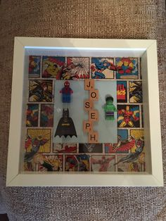 Perfect for any little superhero! Hulk Batman Ca - Be Batman - Ideas of Be Batman - Perfect for any little superhero! Hulk Batman Captain America Thor Spider-Man or Superman can be added. Scrabble Tile Crafts, Scrabble Frame, Scrabble Art, Box Frame Art, Box Art, Baby Art Crafts, Arts And Crafts, 3d Frames, Frames Ideas