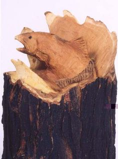Fish carved out of wood