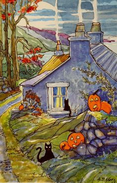 Alida Akers' Storybook Cottage Series - A Humble Halloween by the Sea Halloween Painting, Holidays Halloween, Spooky Halloween, Happy Halloween, Storybook Cottage, Cottage Art, Halloween Illustration, Illustration Art, Art Illustrations