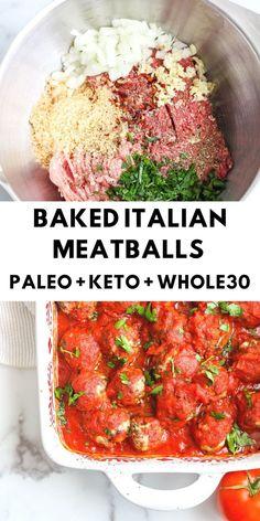 Italian Meatballs - Keto/Paleo/Gluten Free - The Bettered Bl.- Italian Meatballs – Keto/Paleo/Gluten Free – The Bettered Blondie Paleo Recipes, Whole Food Recipes, Cooking Recipes, Paleo Food, Cooking Tips, Easy Paleo Dinner Recipes, Food Tips, Whole 30 Easy Recipes, Paleo Ideas