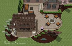Patio Design for Entertaining, relaxing area, fire pit and dinner table under pergola